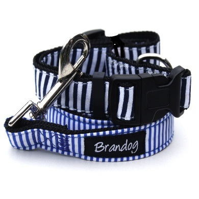 """Captain Pooch"" Nautical Stripe Dog Collar (Blue)"