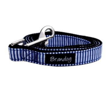 """Captain Pooch"" Nautical Stripe Dog Collar + Leash Set (Blue)"