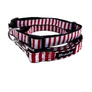 """Captain Pooch"" Nautical Stripe Dog Collar (Red)"