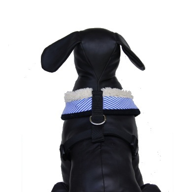 """Captain Pooch"" Nautical Stripe Dog Harness + Leash Set (Blue)"