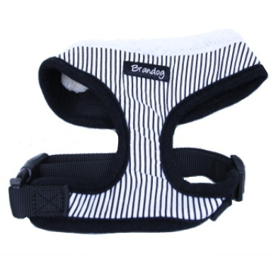 """Captain Pooch"" Nautical Stripe Dog Harness + Leash Set (Black)"