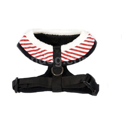 """Captain Pooch"" Nautical Stripe Dog Harness + Leash Set (Red)"