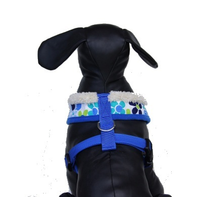 """Retro Pooch"" Dog Harness + Leash Set (Blue)"