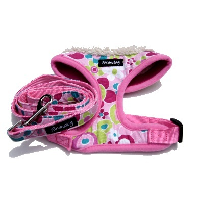 """Retro Pooch"" Dog Harness + Leash Set (Pink)"