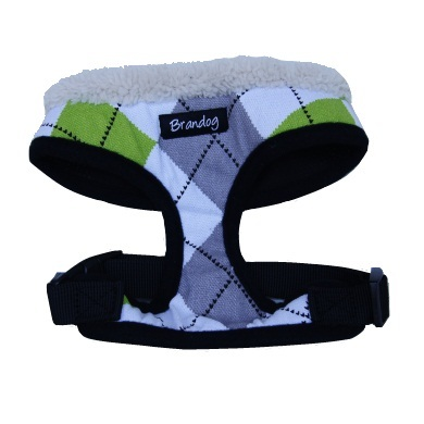 """Get Plaid"" Dog Harness + Leash Set (Green + Grey)"