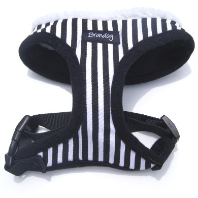 """Captain Pooch"" Nautical THICK Stripe Dog Harness + Leash Set (Black)"