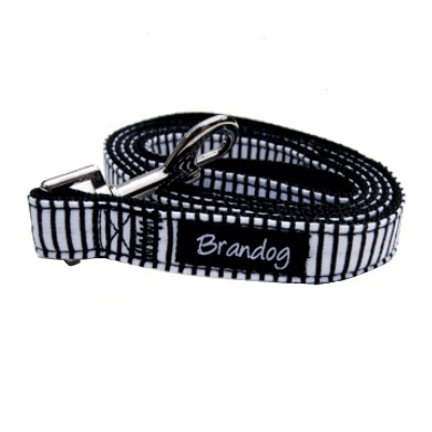 """Captain Pooch"" Nautical Stripe Dog Leash (Black)"