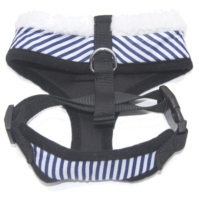 """Captain Pooch"" Nautical THICK Stripe Dog Harness + Leash Set (Blue)"