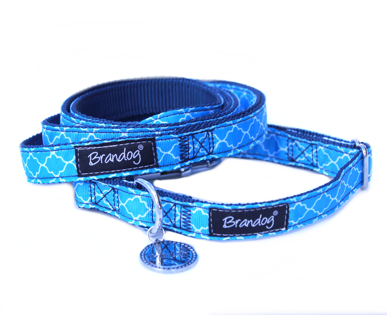Brandog ''Moroccan Blue'' Collar + Leash Set