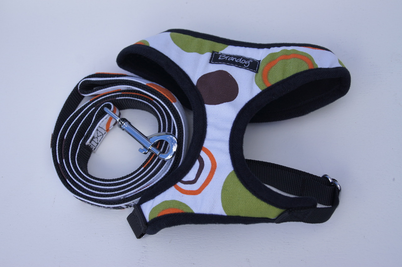 Brandog ''Retro Spots'' Dog Harness + Leash Set