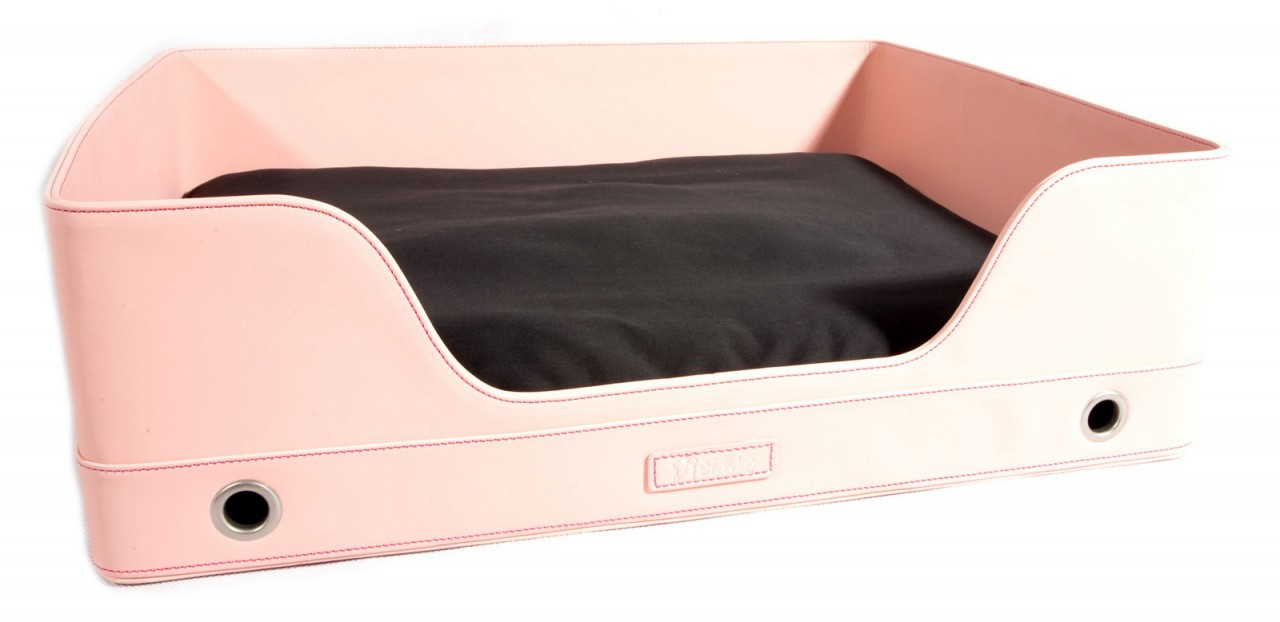 """Deluxe Suite"" Rectangular Leather Dog Bed (Light Pink)"