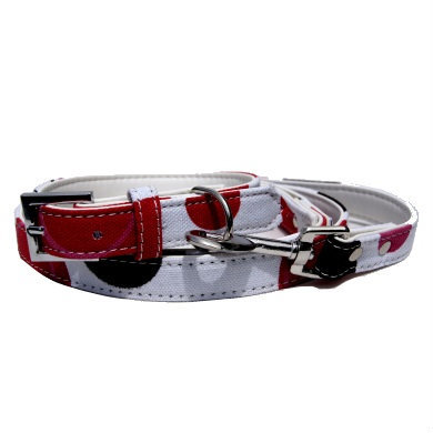 """Bow Wow"" PU Leather / Canvas Dog Leash (White)"
