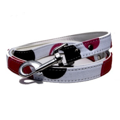 """Bow Wow"" PU Leather / Canvas Dog Collar + Leash Set (White)"