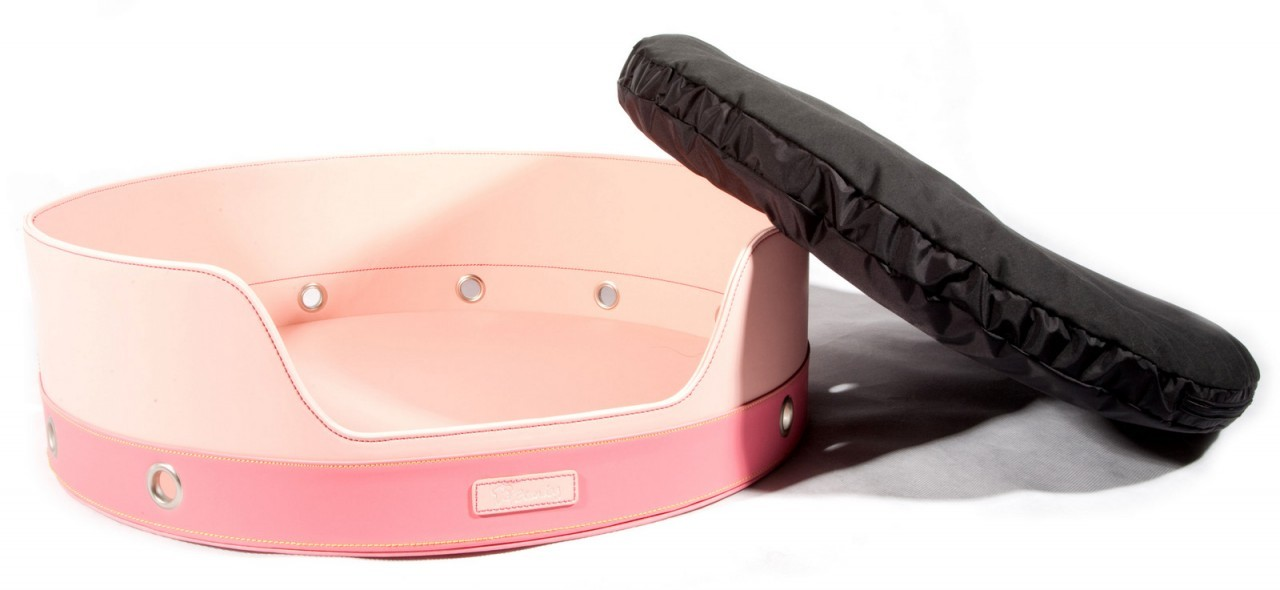 """Penthouse"" 2 Tone Round Leather Dog Bed (Light Pink + Dark Pink)"