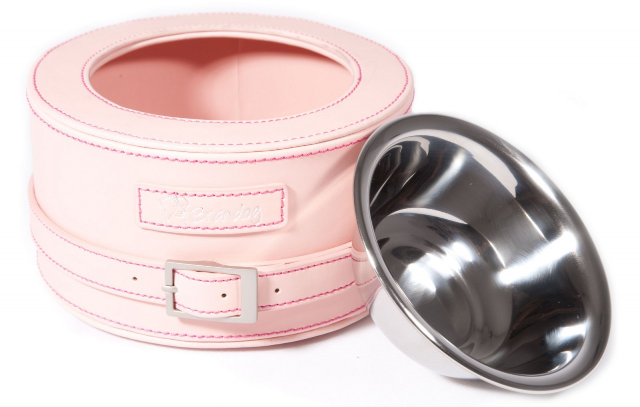 """Gulp"" Round Leather Dog Feeder Bowl (Light Pink)"