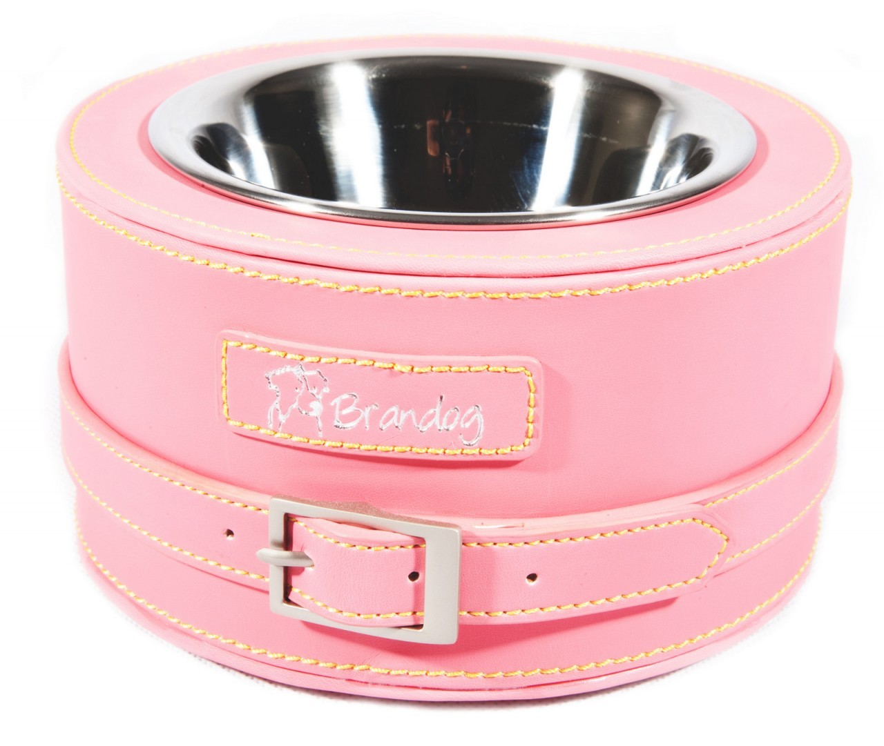 """Gulp"" Round Leather Dog Feeder Bowl (Dark Pink)"