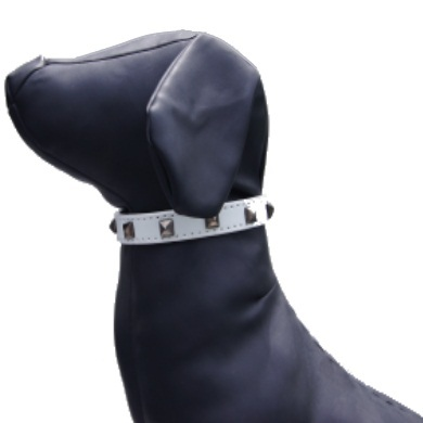 """Studly"" PU Leather Dog Collar (White)"