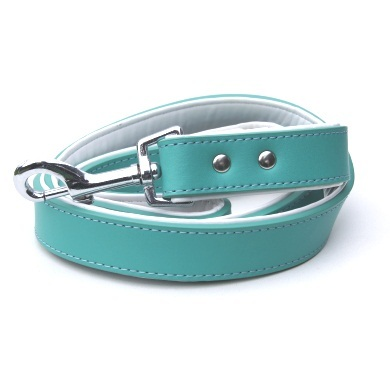"""Brando"" Double Leather Dog Collar (Teal)"