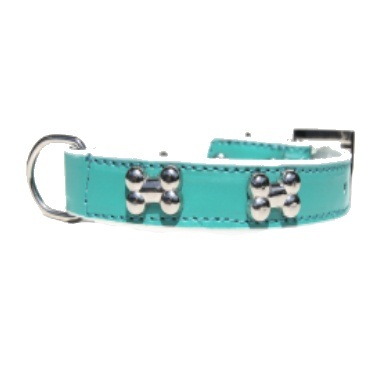 """Brando"" Double Leather Dog Collar + Leash Set (Teal)"