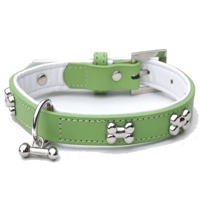 """Brando"" Double Leather Dog Collar (Lime)"