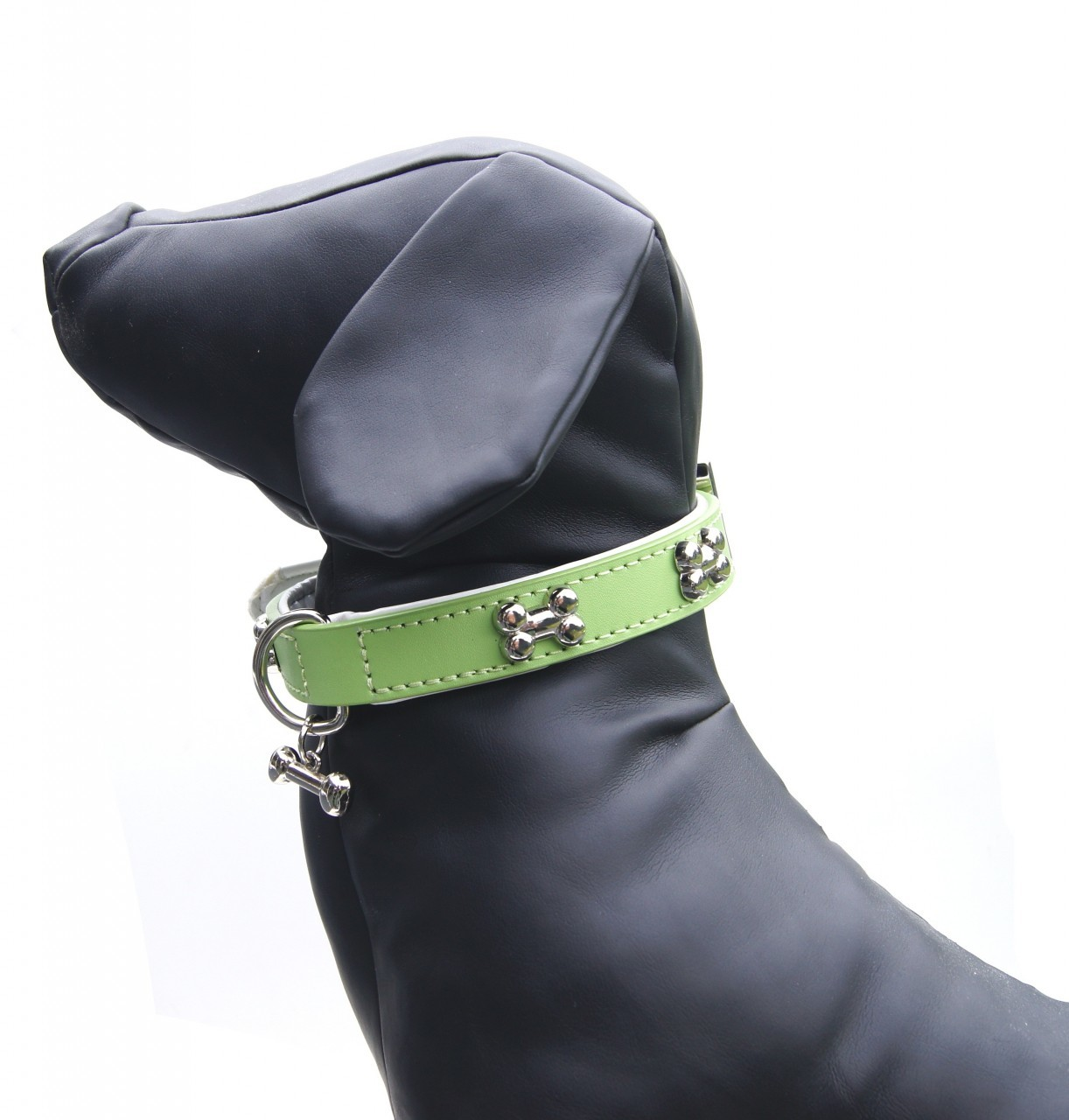 """Brando"" Double Leather Dog Leash (Lime)"