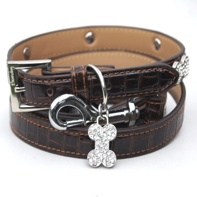"""Moby"" Croc Skin Dog Collar (Rich Brown)"
