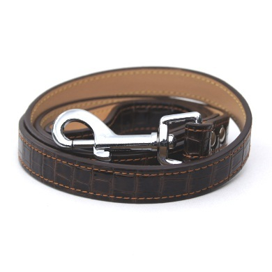 """Moby"" Croc Skin Dog Collar + Leash Set (Rich Brown)"
