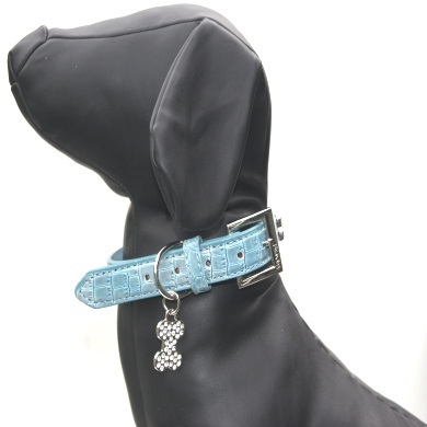 """Moby"" Croc Skin Dog Collar + Leash Set (Berry Blue)"