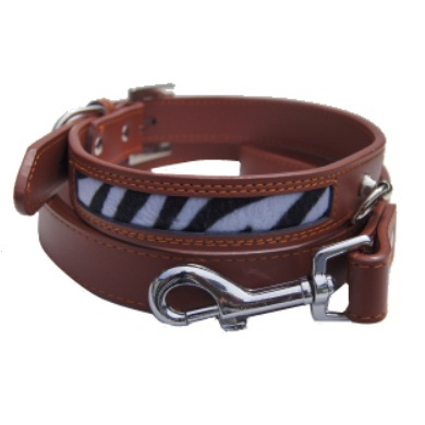 """Zebo"" Leather Dog Collar (Brown)"