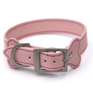 """Stitch"" PU Leather Dog Collar +  Leash Set (Light Pink)"