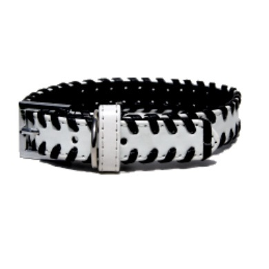 """Weaver"" PU Leather Dog Collar (White)"