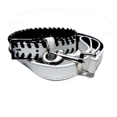"""Weaver"" PU Leather Dog Collar & Leash Set (White)"