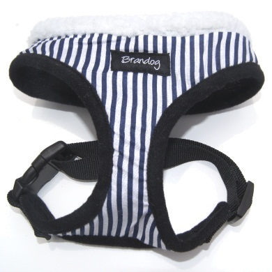 """Captain Pooch"" Nautical THICK Stripe Dog Harness (Blue)"