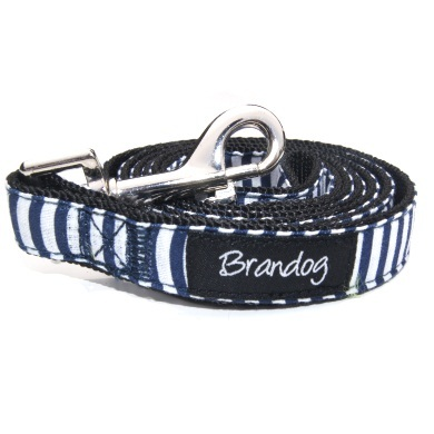 """Captain Pooch"" Nautical THICK Stripe Dog Leash (Blue)"