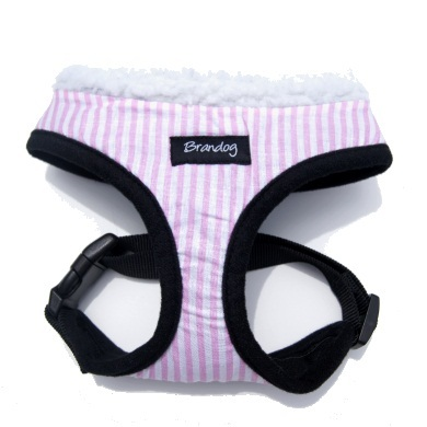"""Captain Pooch"" Nautical THICK Stripe Dog Harness (Pink)"