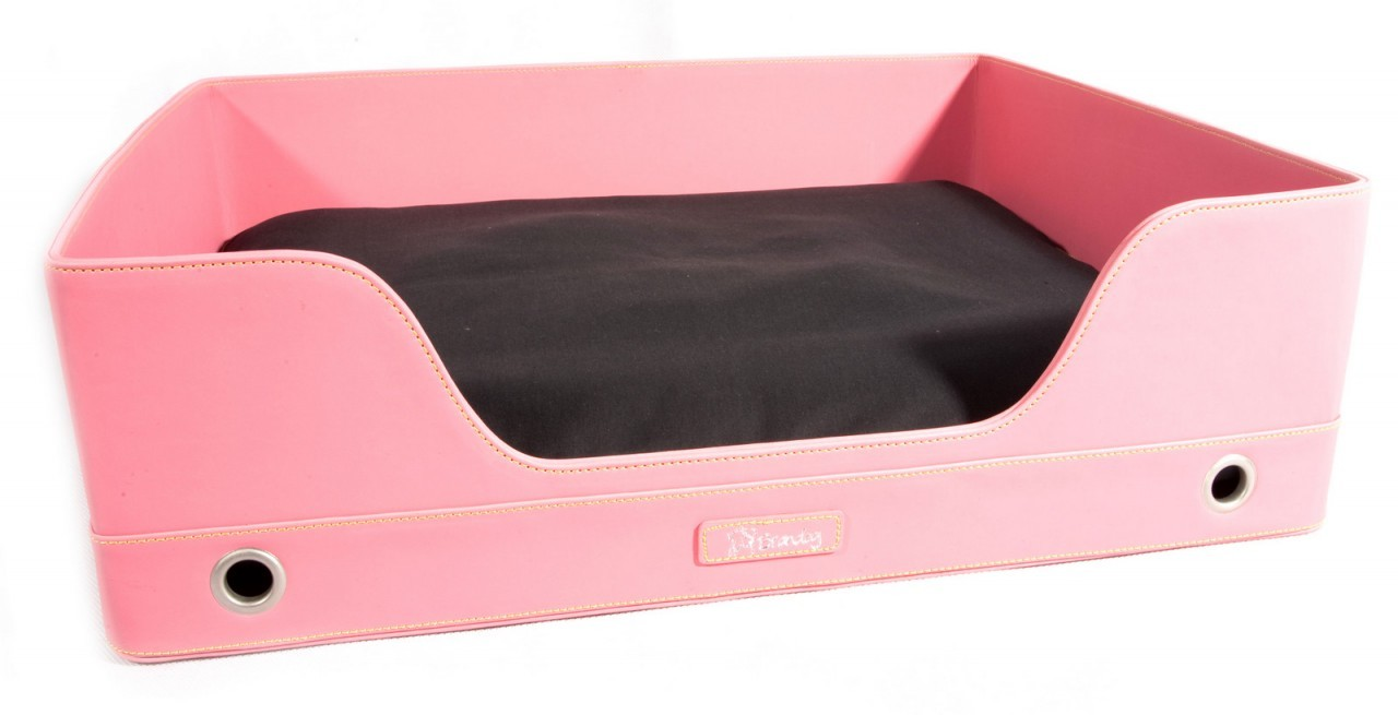 """Deluxe Suite"" Rectangular Leather Dog Bed (Dark Pink)"