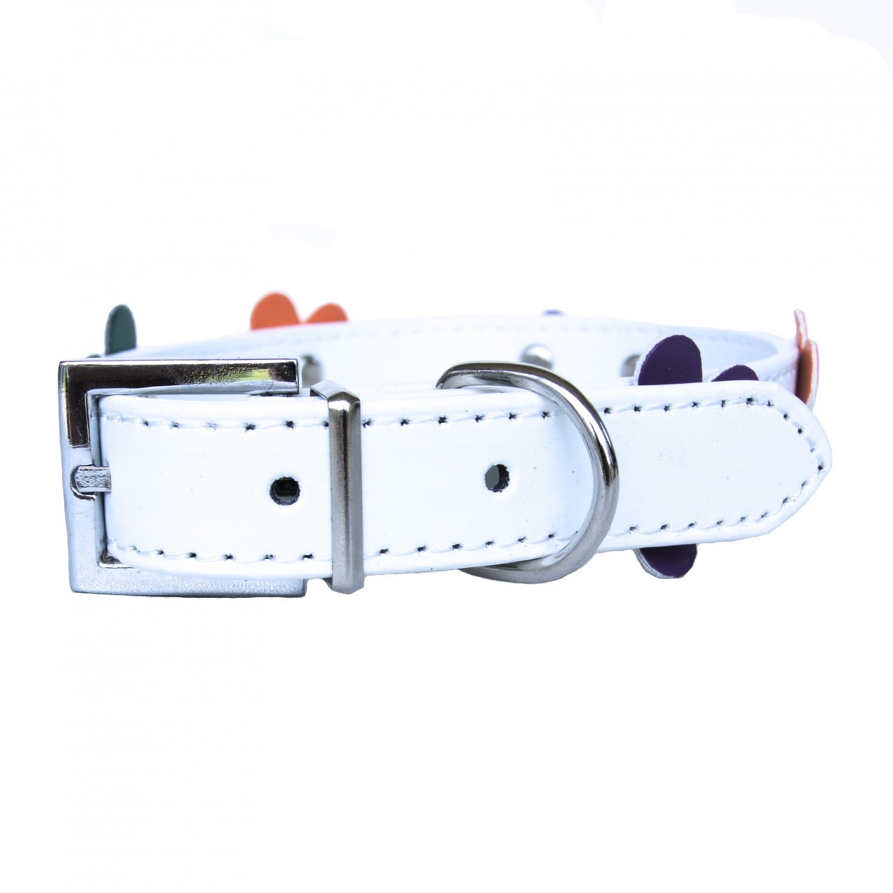 """Sprout"" PU Leather Dog Collar + Leash Set (White)"