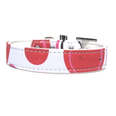 """Bow Wow"" PU Leather / Canvas Dog Collar (White)"