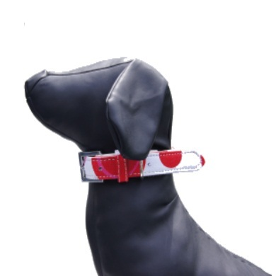 """""""Bow Wow"""" PU Leather / Canvas Dog Collar (White)"""