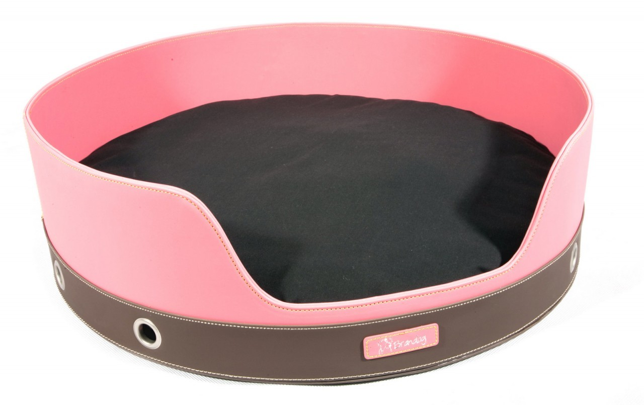 """Penthouse"" 2 Tone Round Leather Dog Bed (Dark Pink + Brown)"