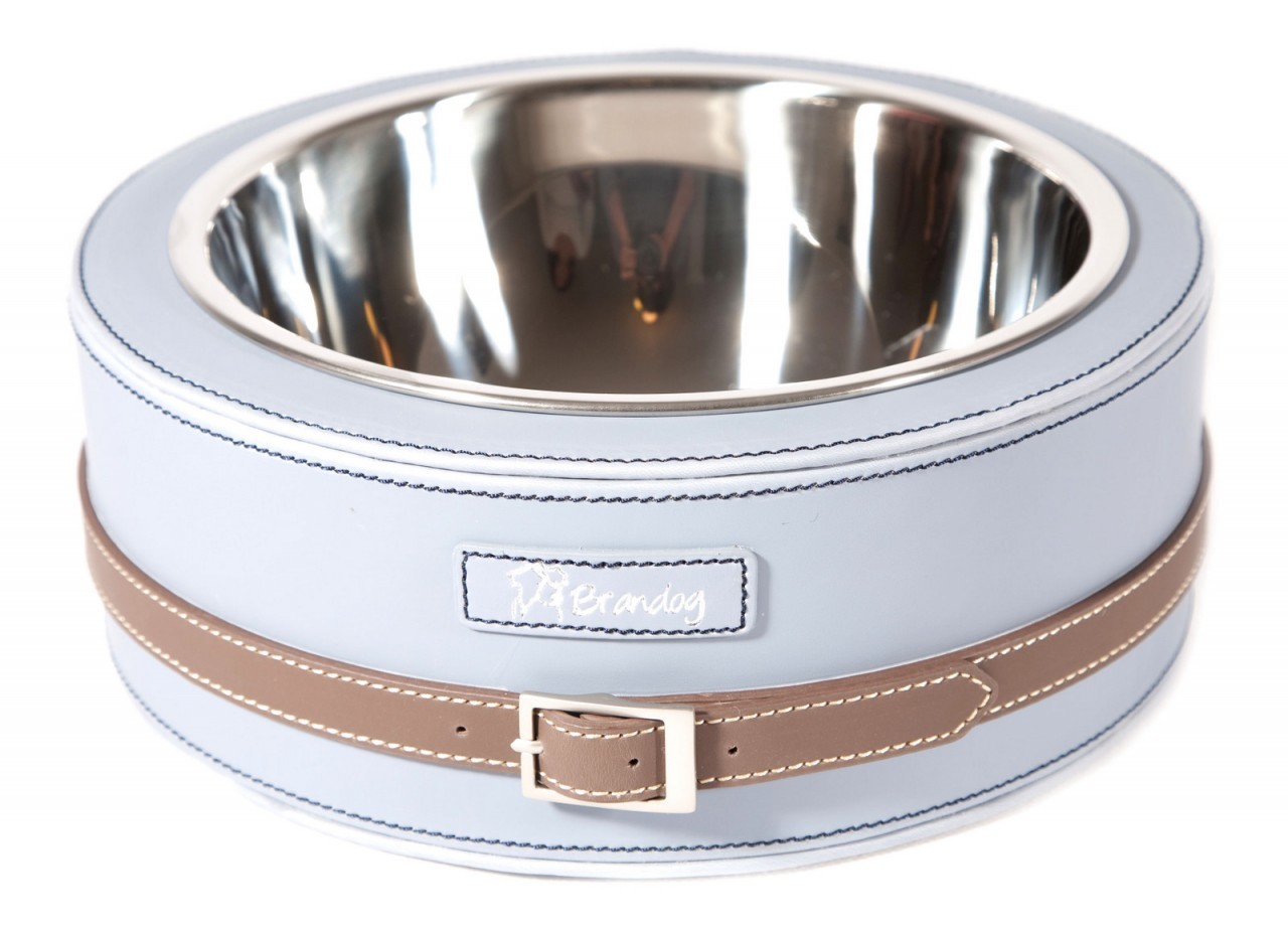 """Bite Me"" 2 Tone Leather Dog Feeder Bowl (Light Blue + Brown)"
