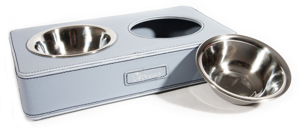 """Indulge"" Rectangular Dual Leather Dog Feeder Bowl (Blue)"
