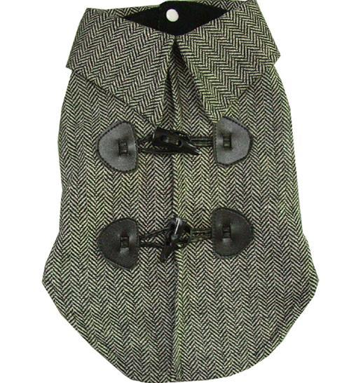 """Brandog"" Tweed Toggle Dog Coat (Grey)"