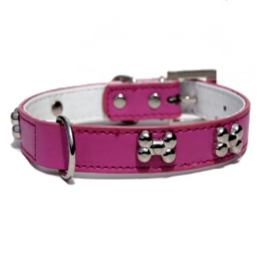 """Brando"" Double Leather Dog Collar (Hot Pink)"