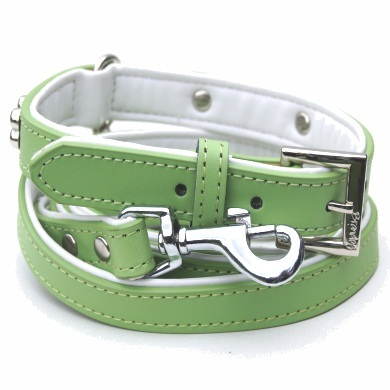 """Brando"" Double Leather Dog Collar + Leash Set (Lime)"